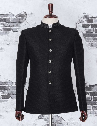 Black textured jodhpuri suit
