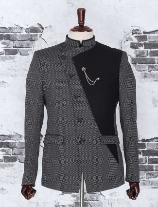 Black textured one piece coat suit