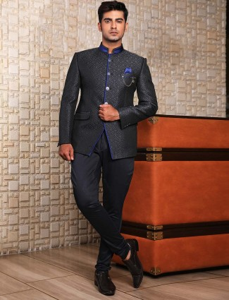 Black textured pattern jodhpuri suit