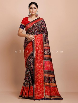 Black thread weaving pashmina silk saree