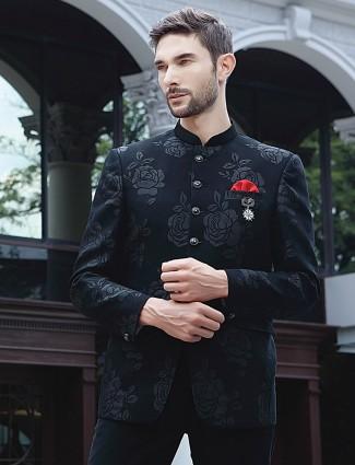 Black thread weaving terry rayon jodhpuri suit