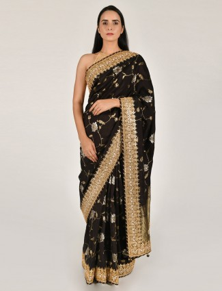 Black tussar silk party saree with unstitched blouse