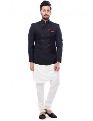 Black two piece indo western in silk fabric