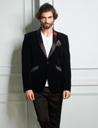 Black velvet fabric party wear blazer