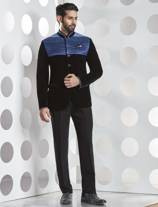 Black velvet jodhpuri suit for mens