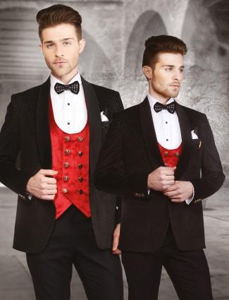 Black velvet party wear classic coat suit