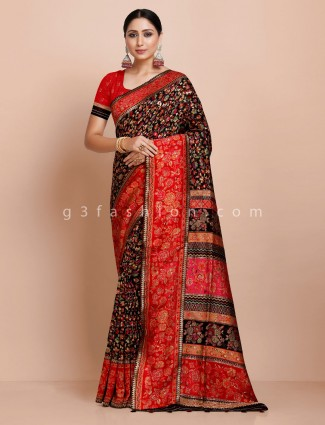 Black wedding pashmina silk saree
