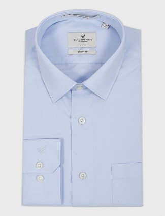 Blackberry solid sky blue cotton shirt