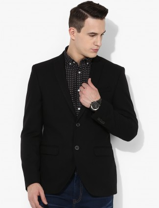 Blackberry solid terry rayon black blazer