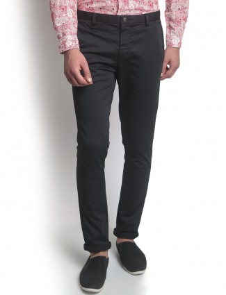 Blackberrys black solid cotton trouser