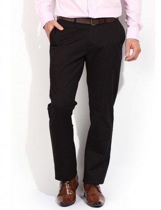 Blackberrys casual men plain black cotton sharp fit trouser