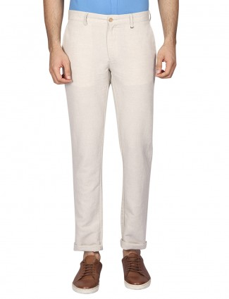 Blackberrys cream colored solid mens trouser