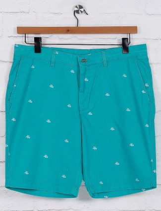 Blackberrys green printed casual shorts