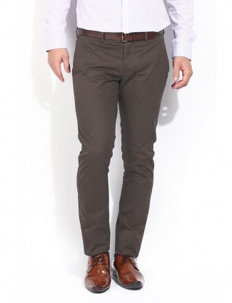 Blackberrys plain sharp fit casual cotton brown men trouser