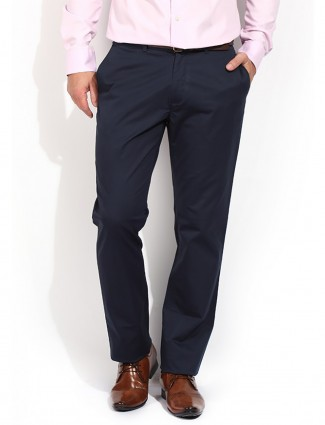 Blackberrys sharp fit navy plain men cotton trouser