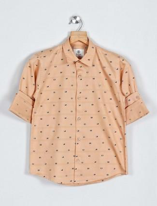 Blazo beige printed full sleeve shirt