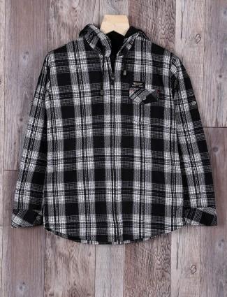 Blazo black color checks jecket style shirt