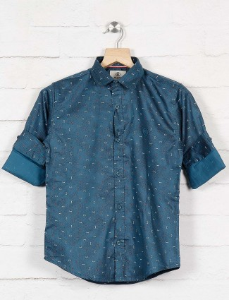 Blazo blue printed slim collar shirt