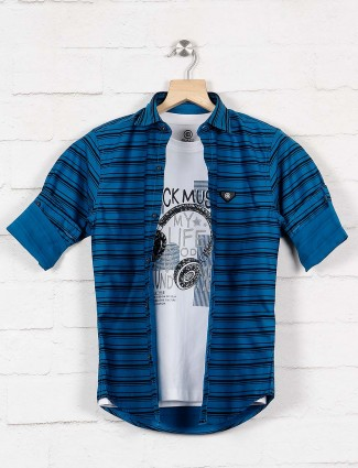 Blazo blue stripe pattern casual shirt
