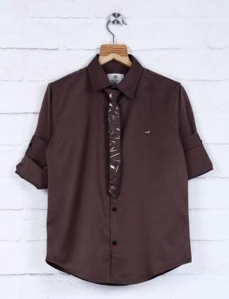 Blazo brown cotton fabric solid shirt