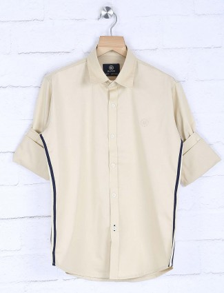 Blazo cream solid casual wear shirt