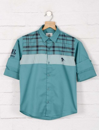 Blazo green checks slim fit shirt