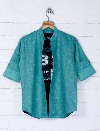 Blazo green hue printed shirt