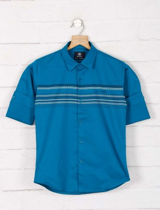 Blazo green stripe cotton shirt