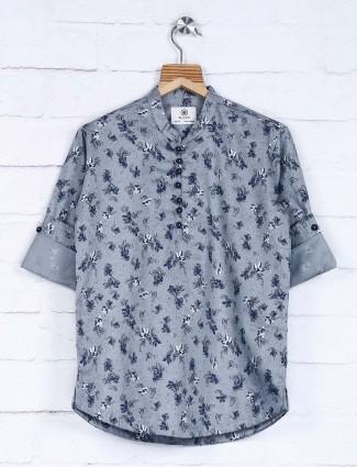 Blazo grey printed casual cotton shirt