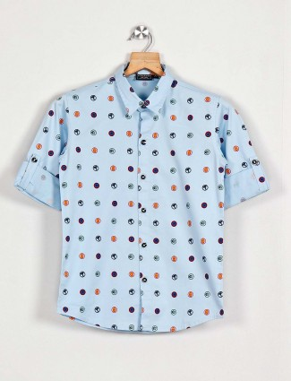Blazo light blue printed boys casual shirt