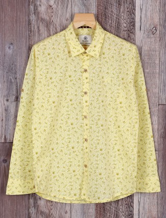 Blazo light yellow printed shirt
