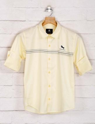 Blazo light yellow solid cotton shirt