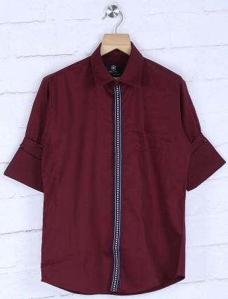 Blazo maroon hued solid cotton shirt
