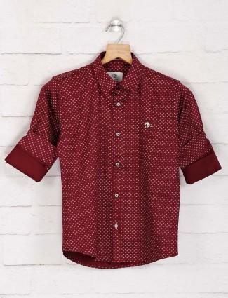 Blazo maroon printed cotton shirt