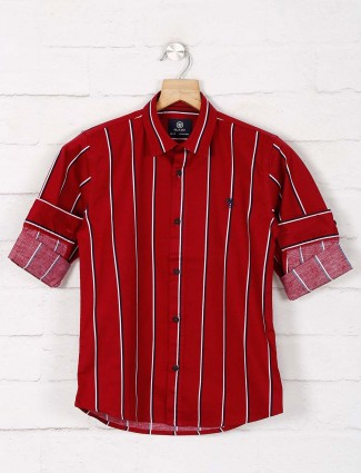 Blazo maroon stripe cotton casual shirt