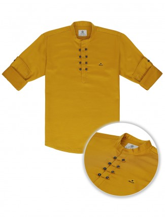 Blazo mustard yellow cotton boys kurta shirt