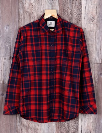 Blazo navy and red checks shirt