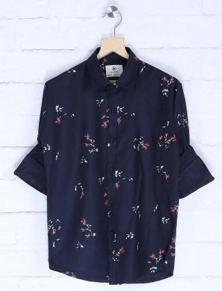 Blazo navy hued printed cotton shirt