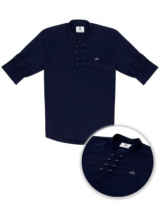 Blazo navy solid casual wear kurta shirt