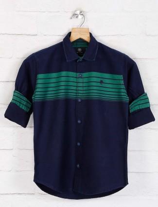 Blazo navy stripe casual wear shirt