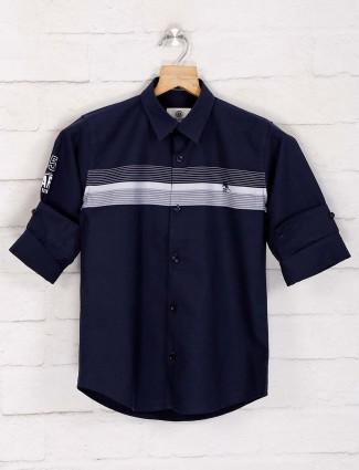 Blazo navy stripe cotton casual shirt