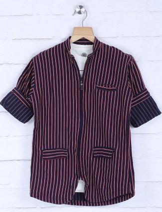 Blazo navy stripe slim fit shirt