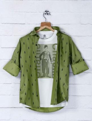 Blazo olive color printed shirt