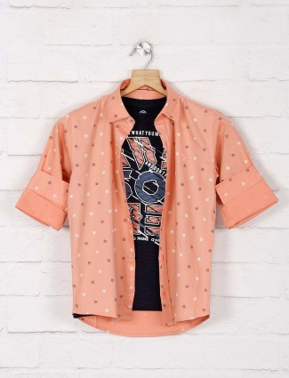 Blazo peach printed latest shirt