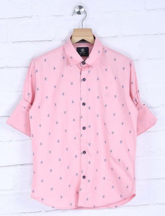 Blazo pink printed boys cotton shirt
