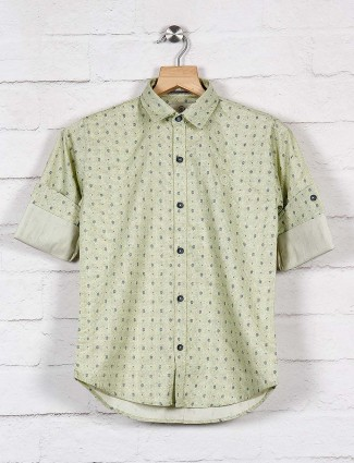 Blazo pista green slim fit printed shirt