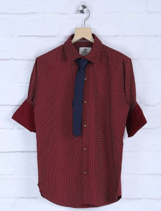 Blazo printed maroon color party wear shirt