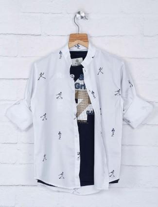 Blazo printed off white hue cotton shirt