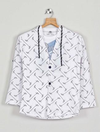 Blazo printed white cotton hooded shirt