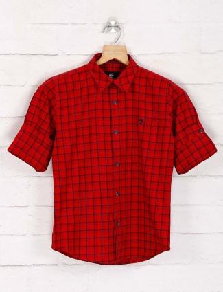 Blazo red checks slim fit shirt